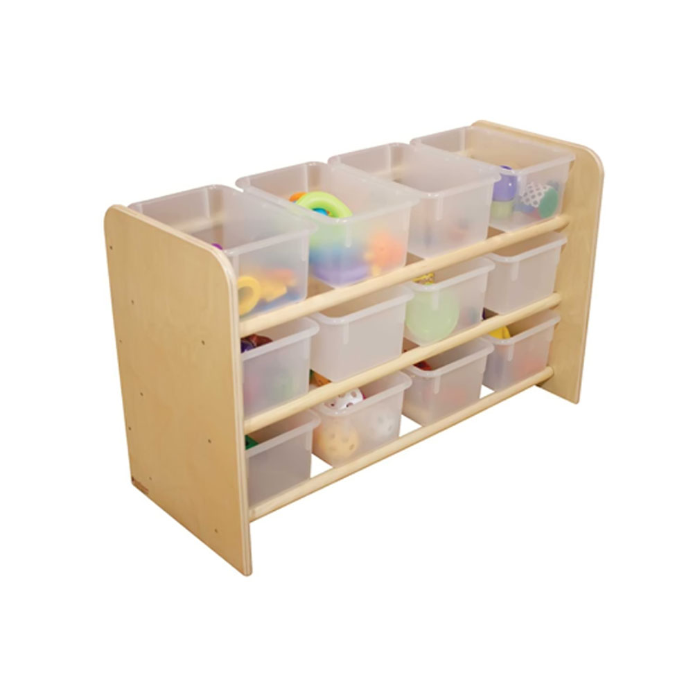 Wood Designs Kids Play Toy Book Plywood Organizer Wd13801 See-All Storage With (12) Translucent Trays