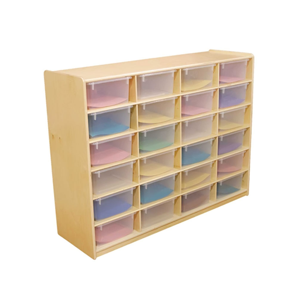 """Wood Designs Kids Play Furniture WD18641 (24) 5"""" Letter Tray Storage Unit with Translucent Trays"""