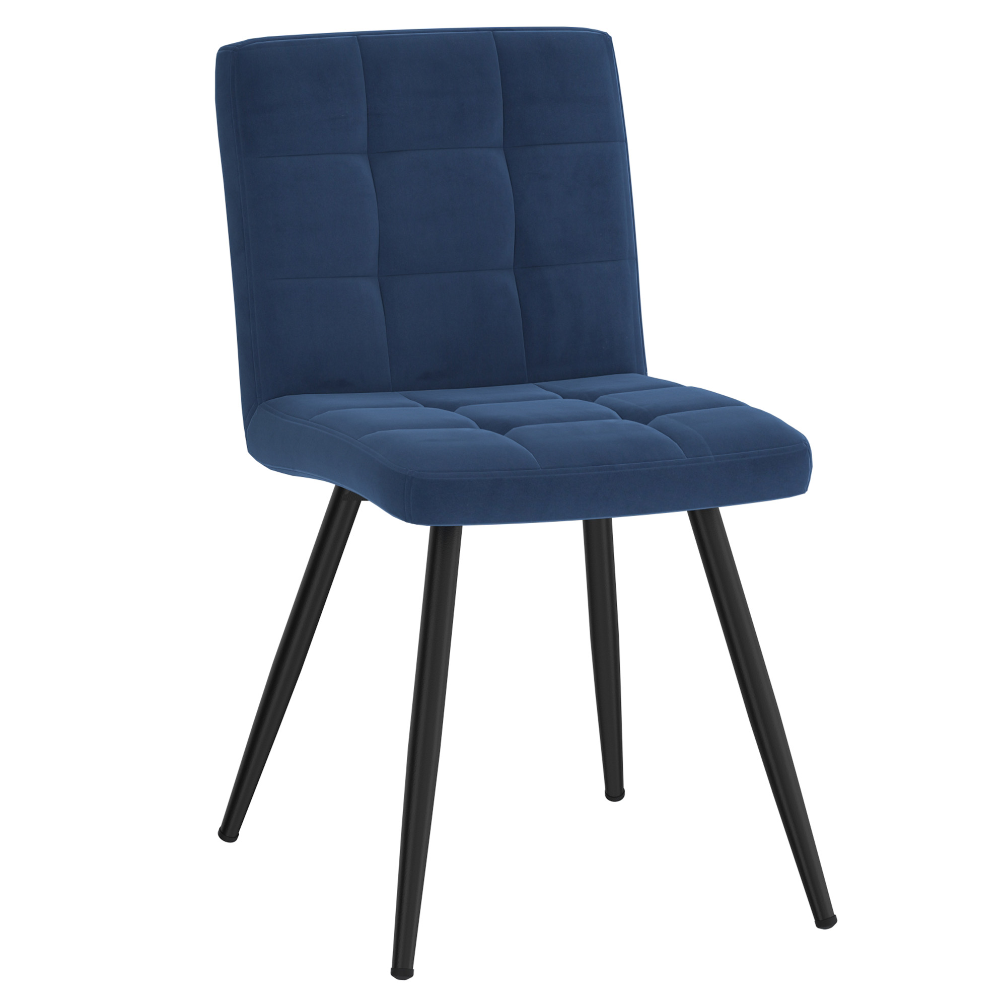 Set of 2 Contemporary Velvet & Metal Side Chair in Blue
