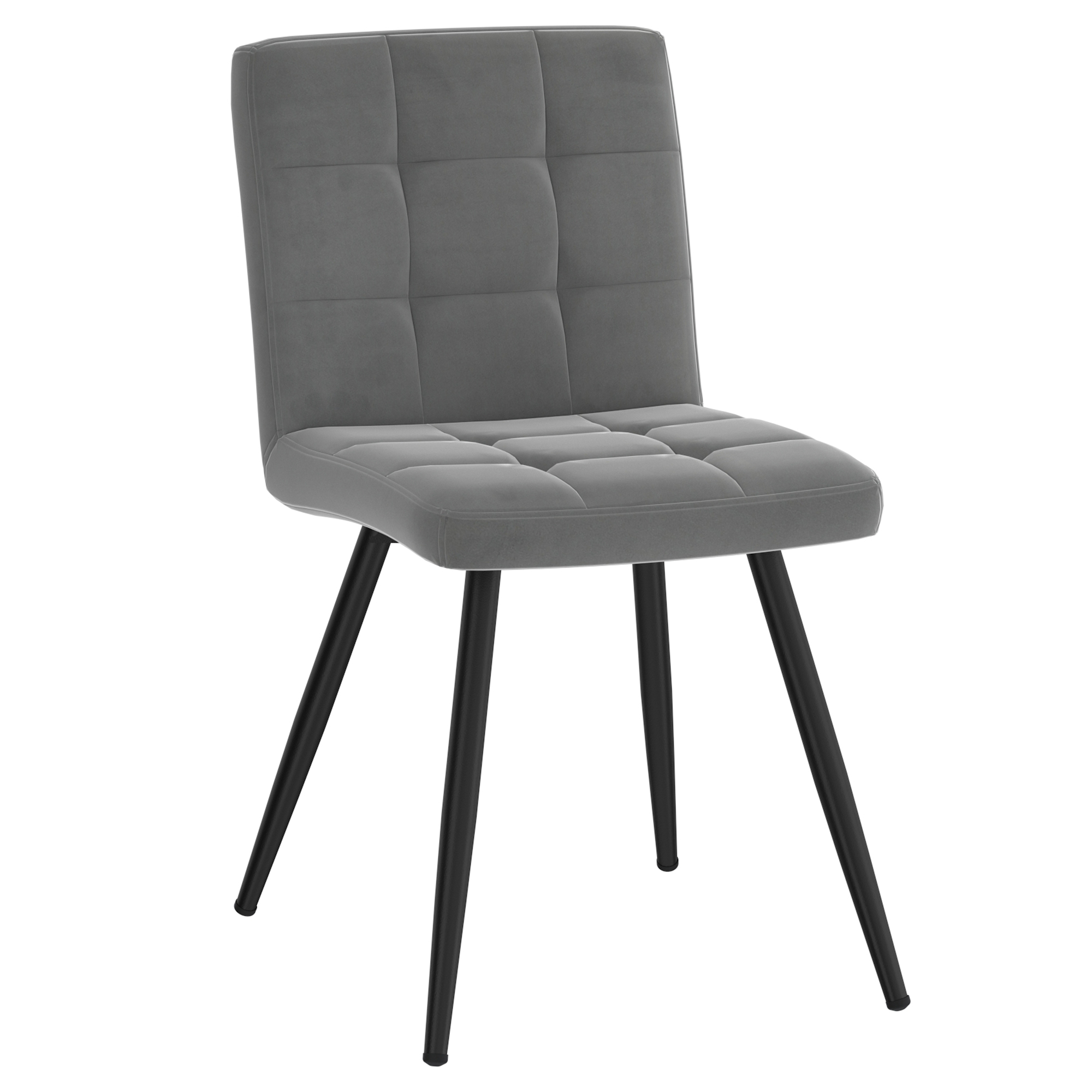 Set of 2 Contemporary Velvet & Metal Side Chair in Grey