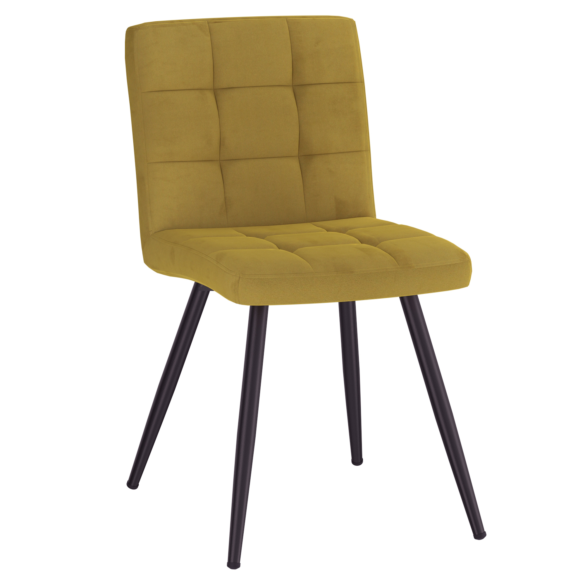 Set of 2 Contemporary Velvet & Metal Side Chair in Mustard
