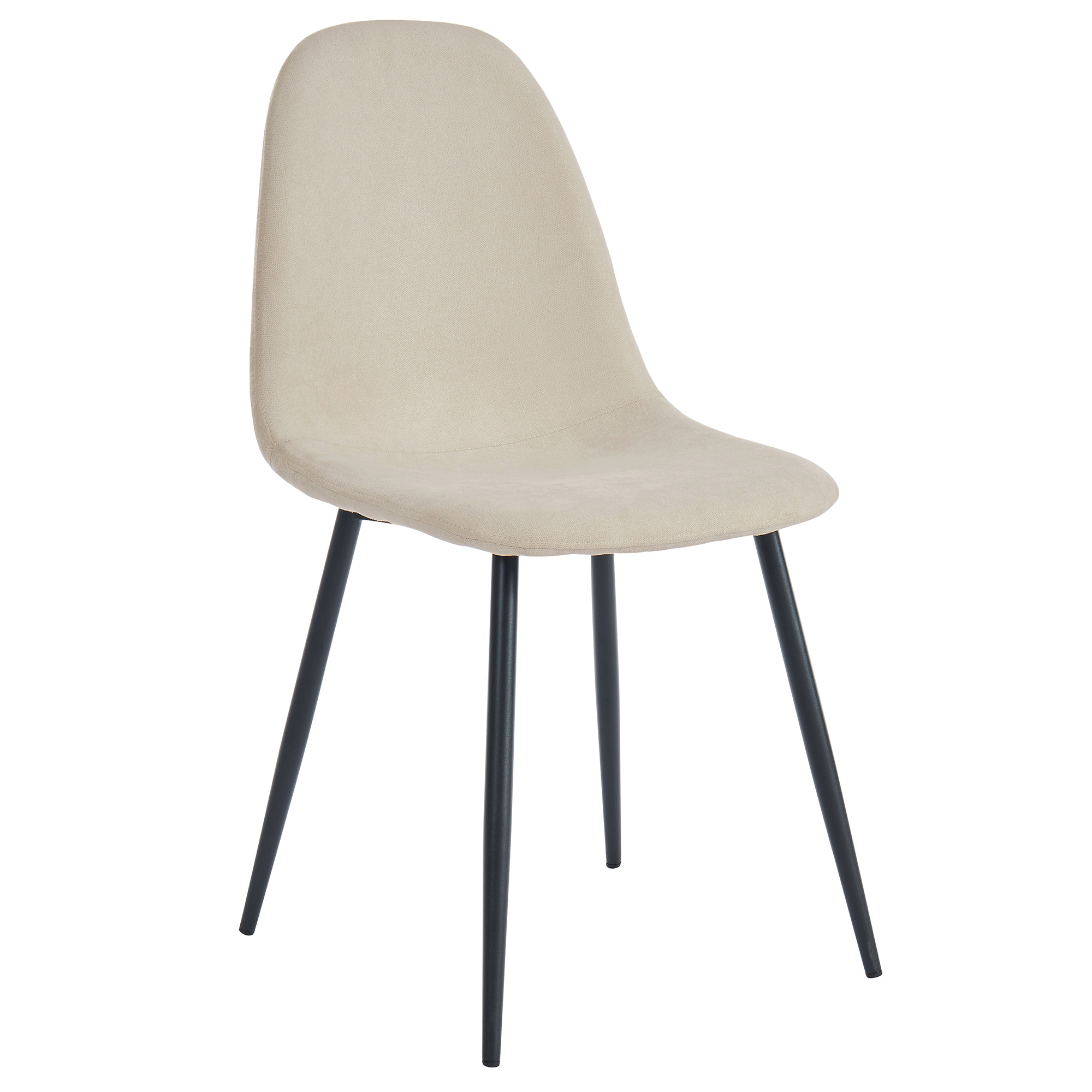 Set of 4 Mid-Century Fabric & Metal Side Chair in Beige