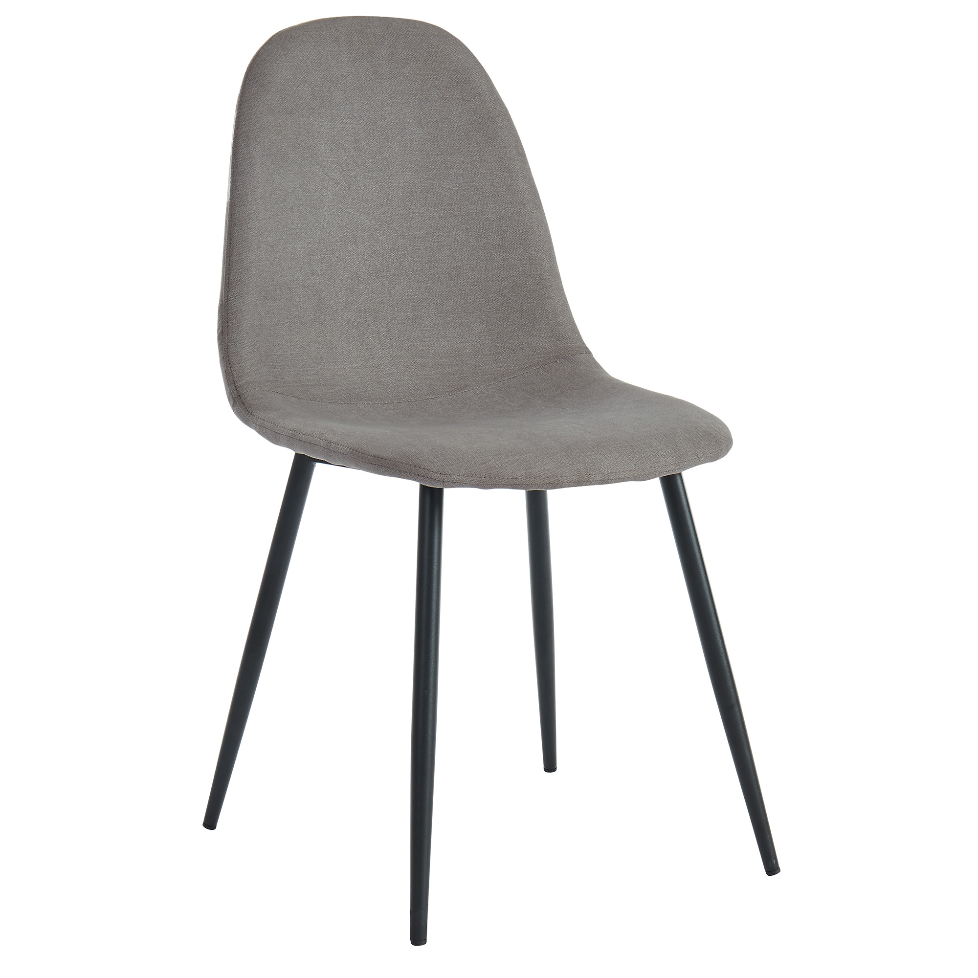 Set of 4 Mid-Century Fabric & Metal Side Chair in Grey