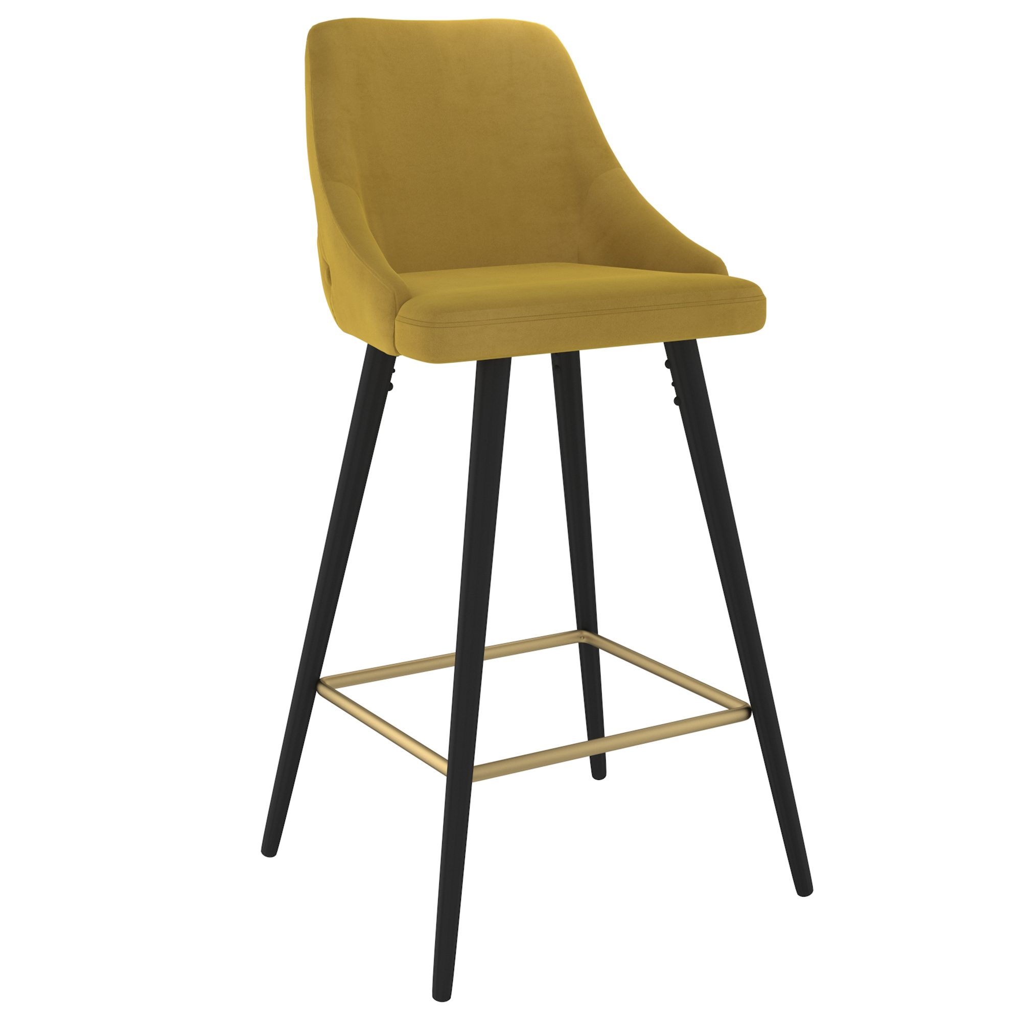 Set of 2 Modern Velvet & Metal 26'' Counter Stool in Mustard