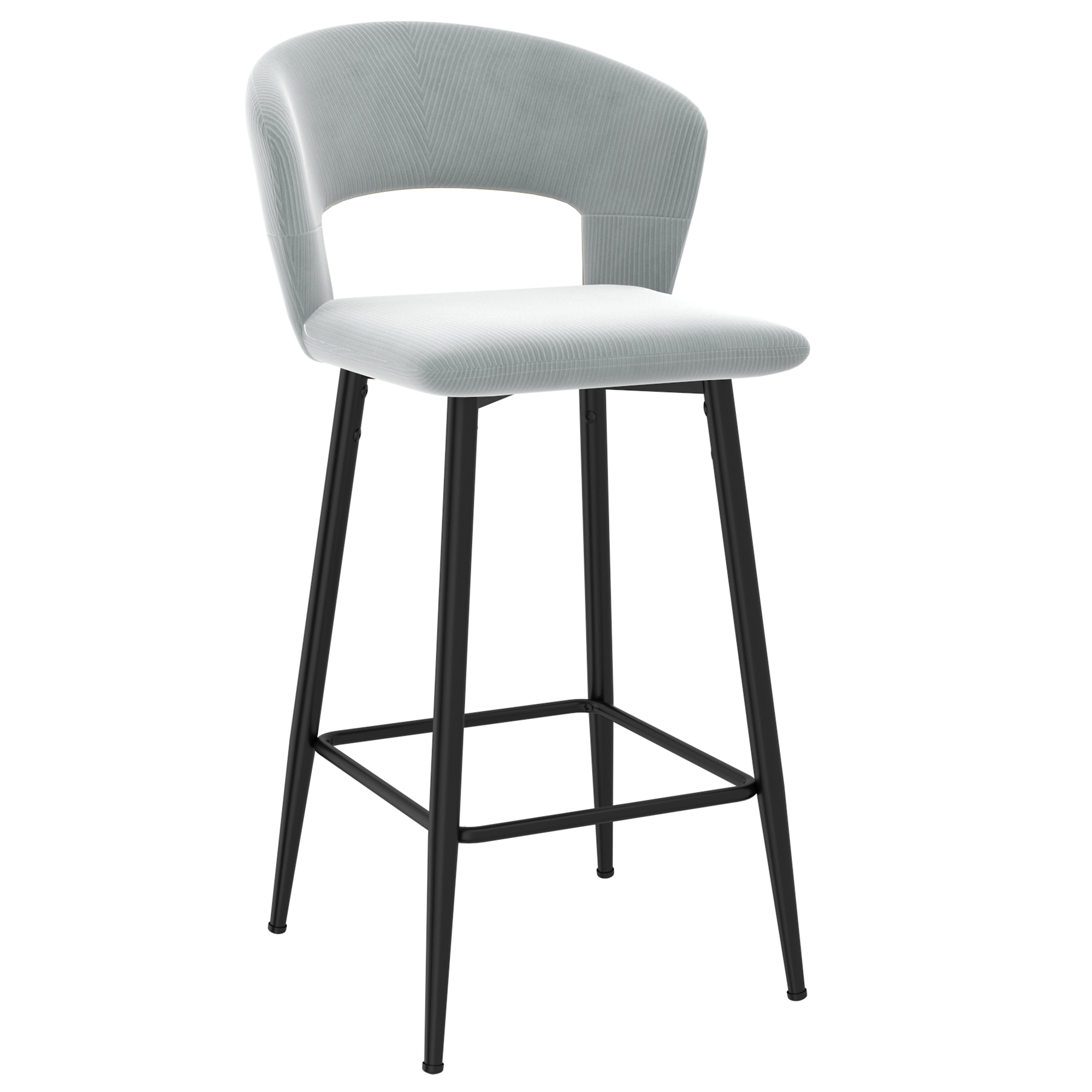 Set of 2 Modern Velvet & Metal 26'' Counter Stool in Light Grey