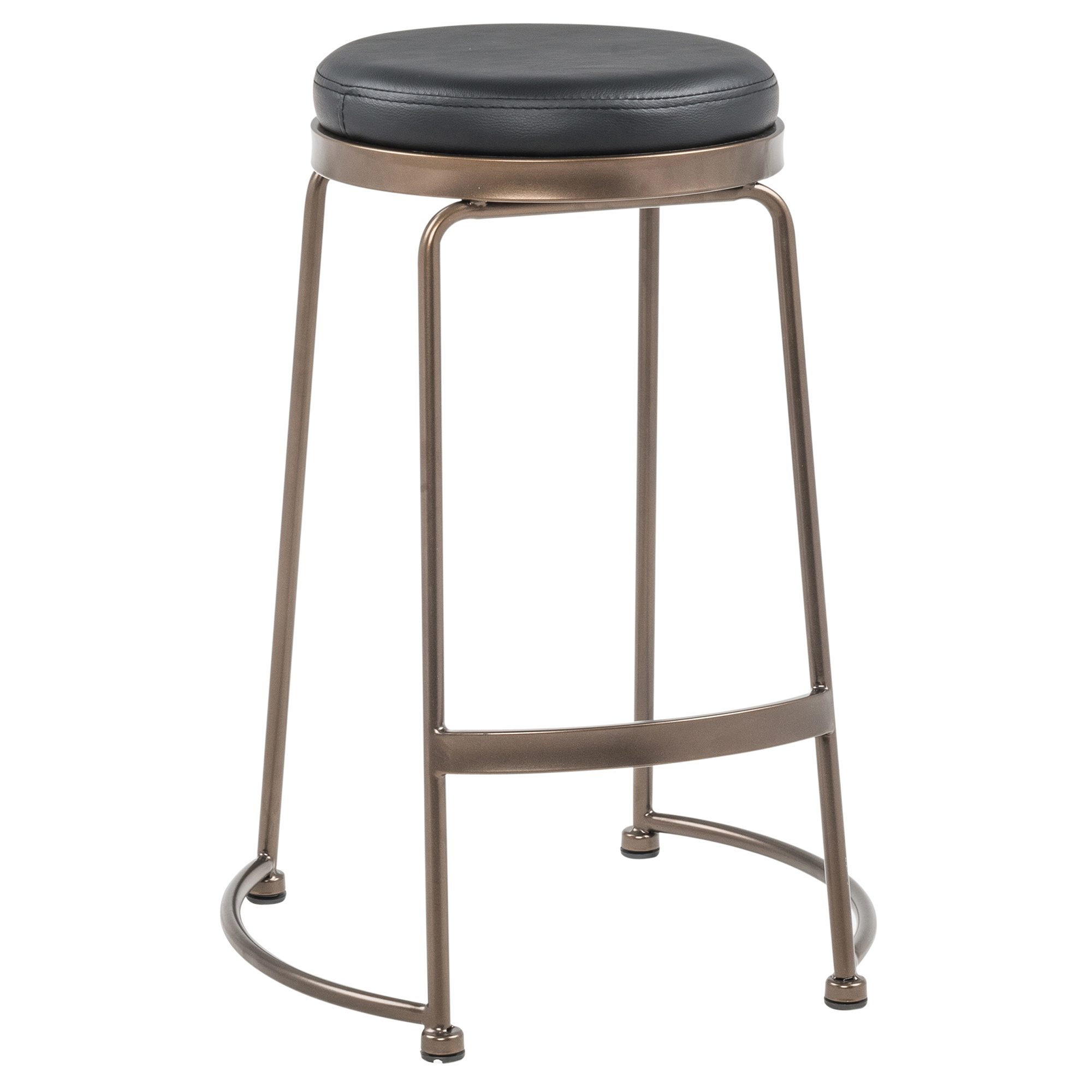 Set of 4 Rustic Industrial Metal & Faux Leather 26'' Counter Stool in Copper & Black