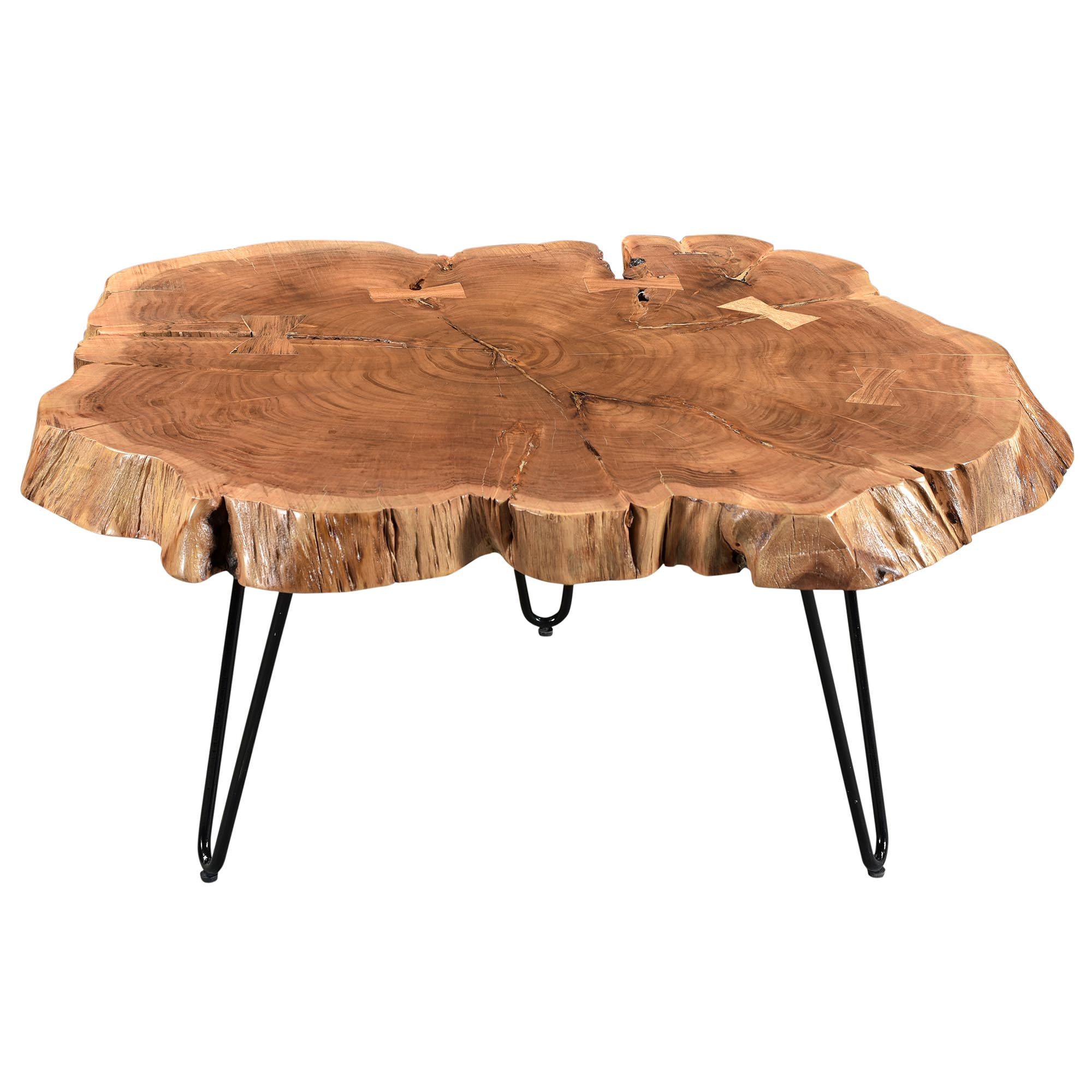 Rustic Modern Solid Wood & Iron Coffee Table in Natural