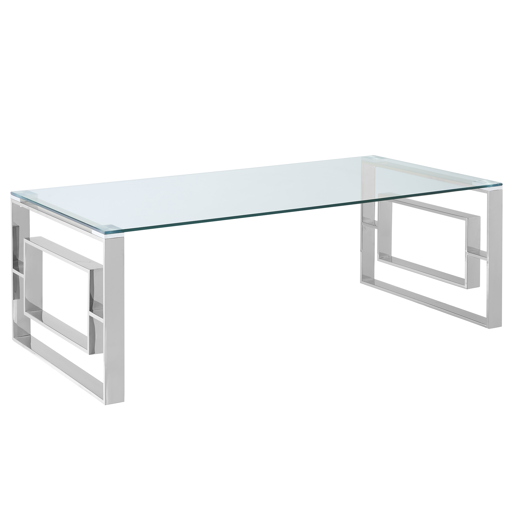 Contemporary Stainless Steel & Glass Coffee Table in Silver