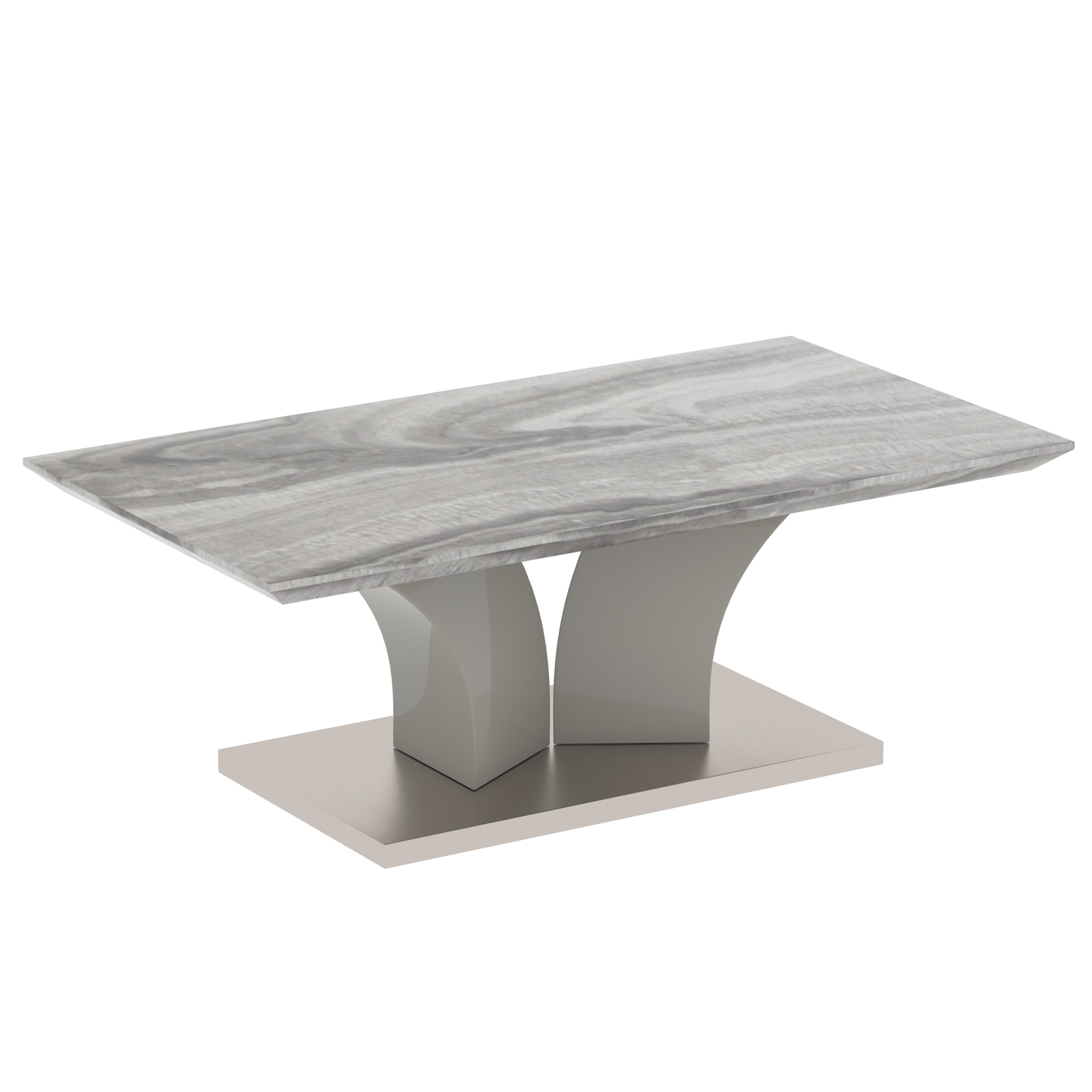 Contemporary Faux Marble & Stainless Steel Coffee Table in Grey
