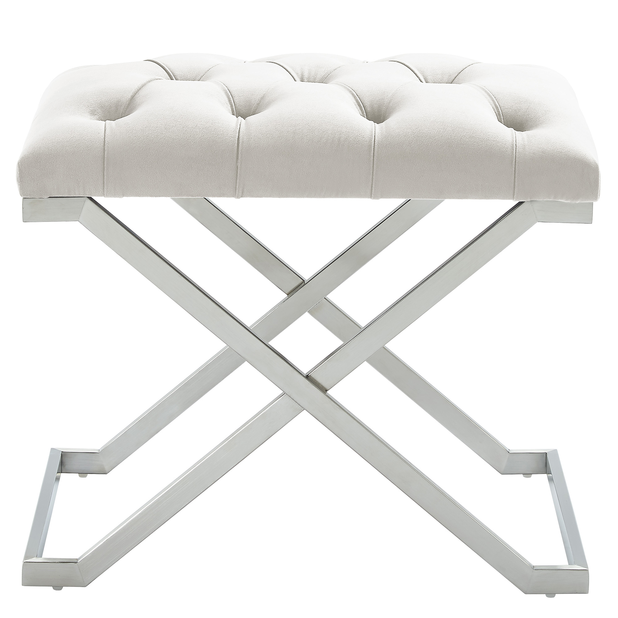 Contemporary Velvet & Stainless Steel Bench in Ivory & Silver
