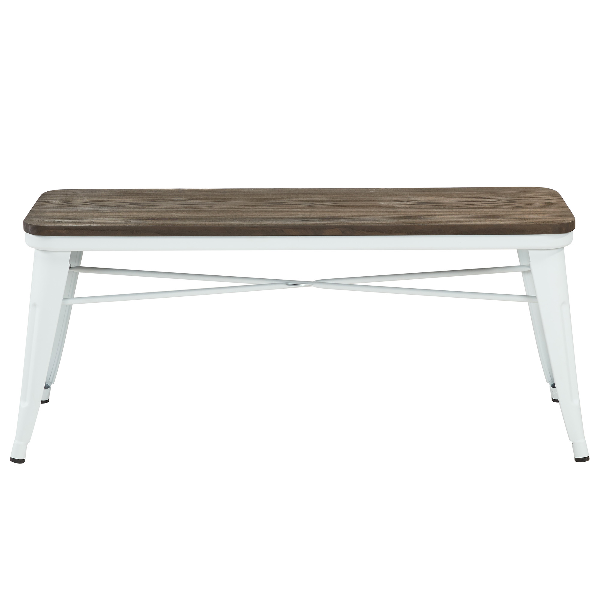Rustic Industrial Metal & Solid Wood Bench in White