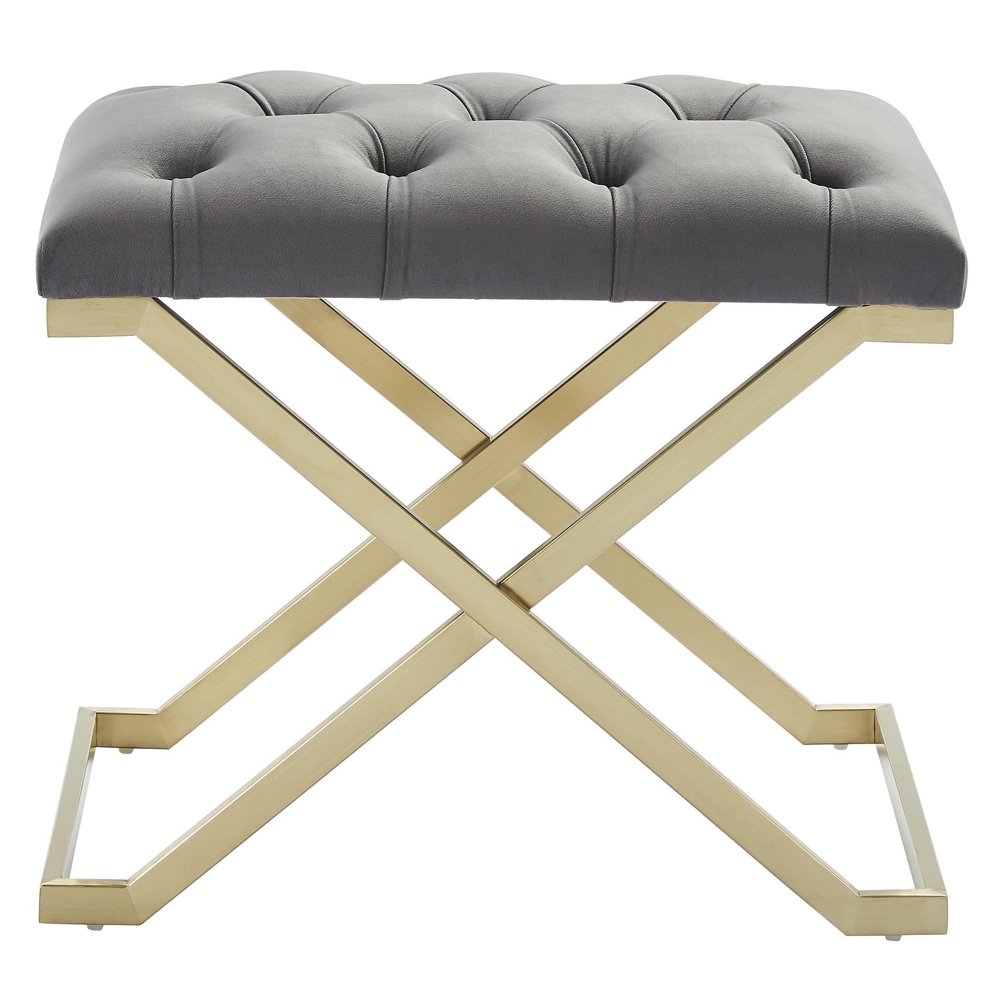 Contemporary Velvet & Stainless Steel Bench in Grey & Gold