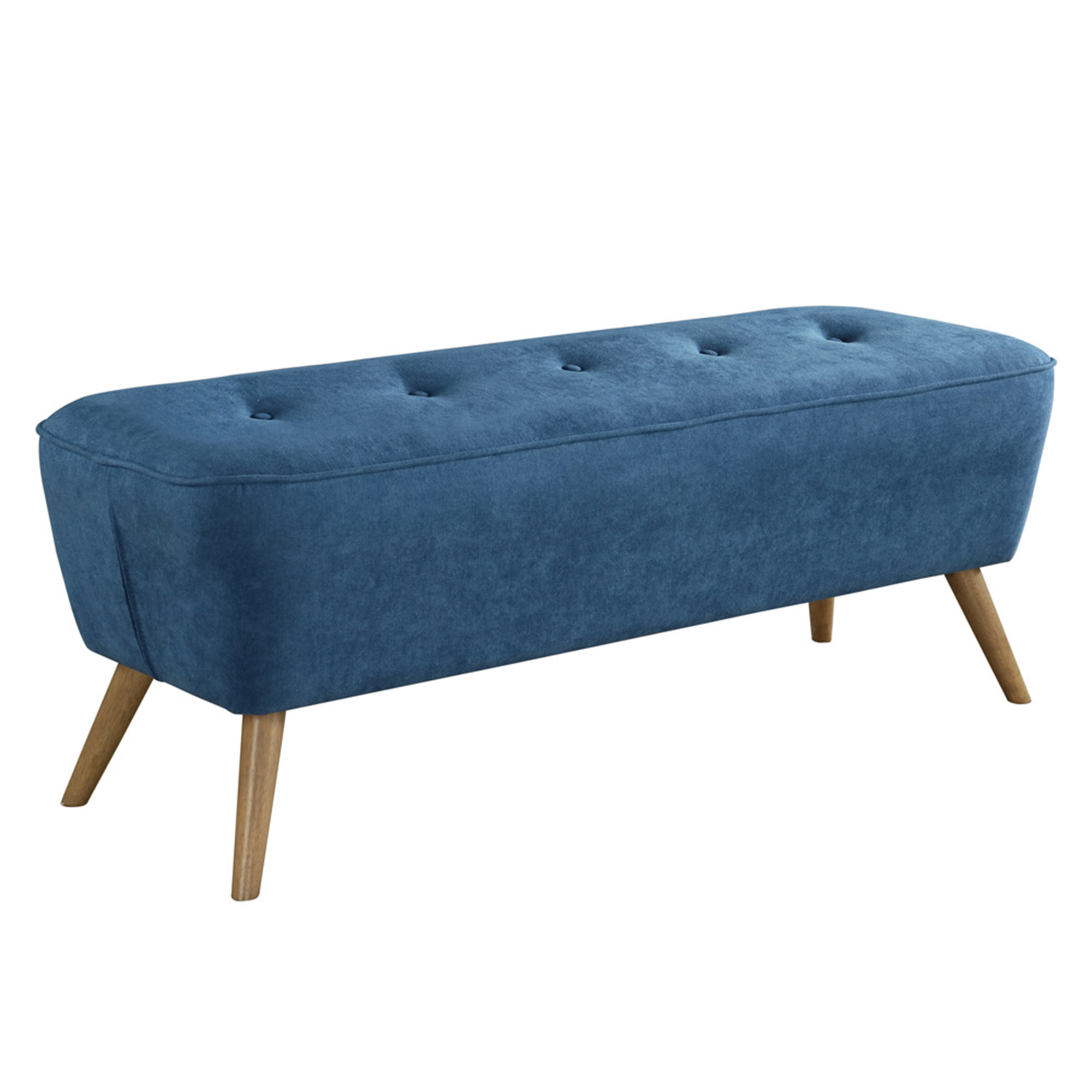 Mid-Century Fabric Bench/Ottoman in Blue