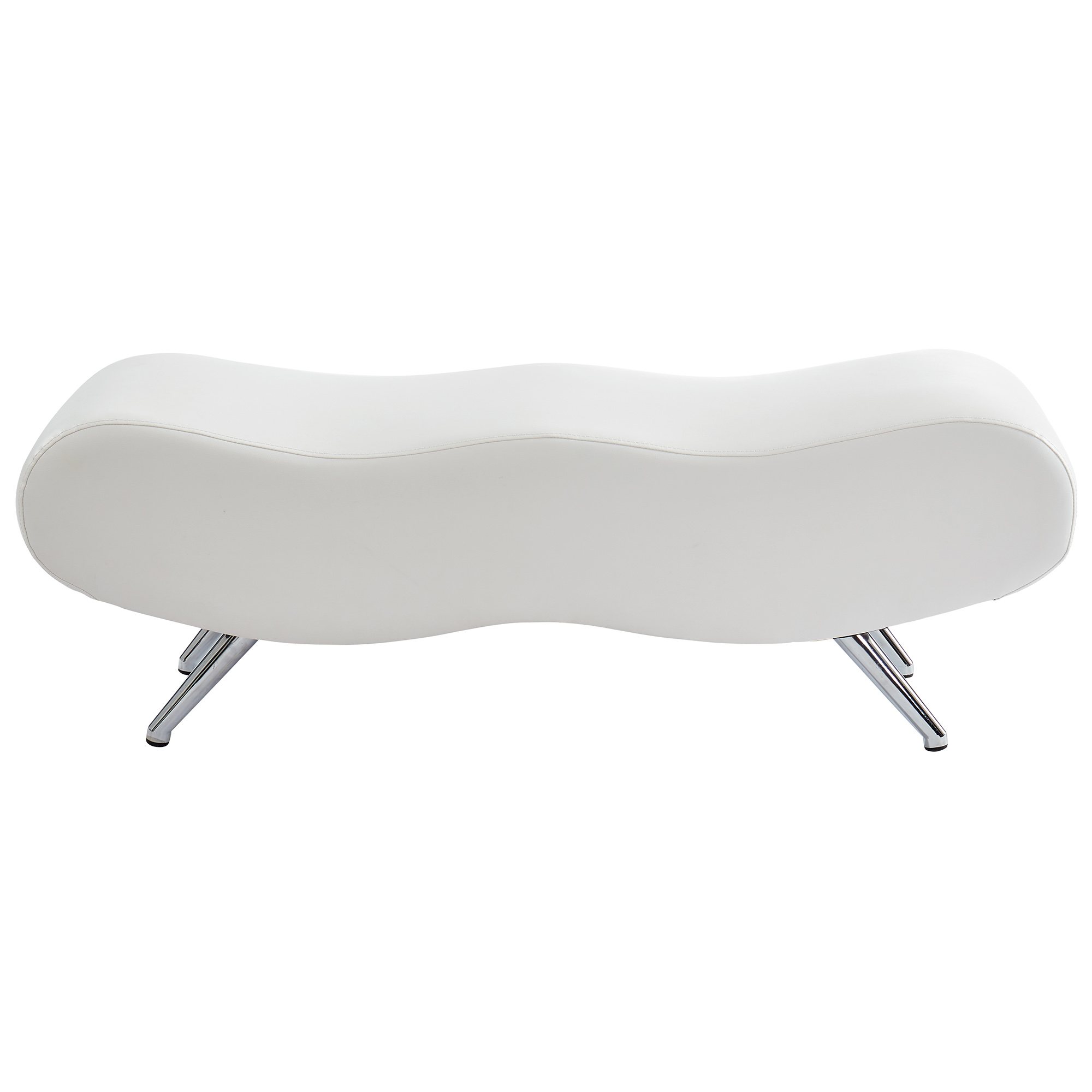 Contemporary Faux Leather & Metal Bench in White