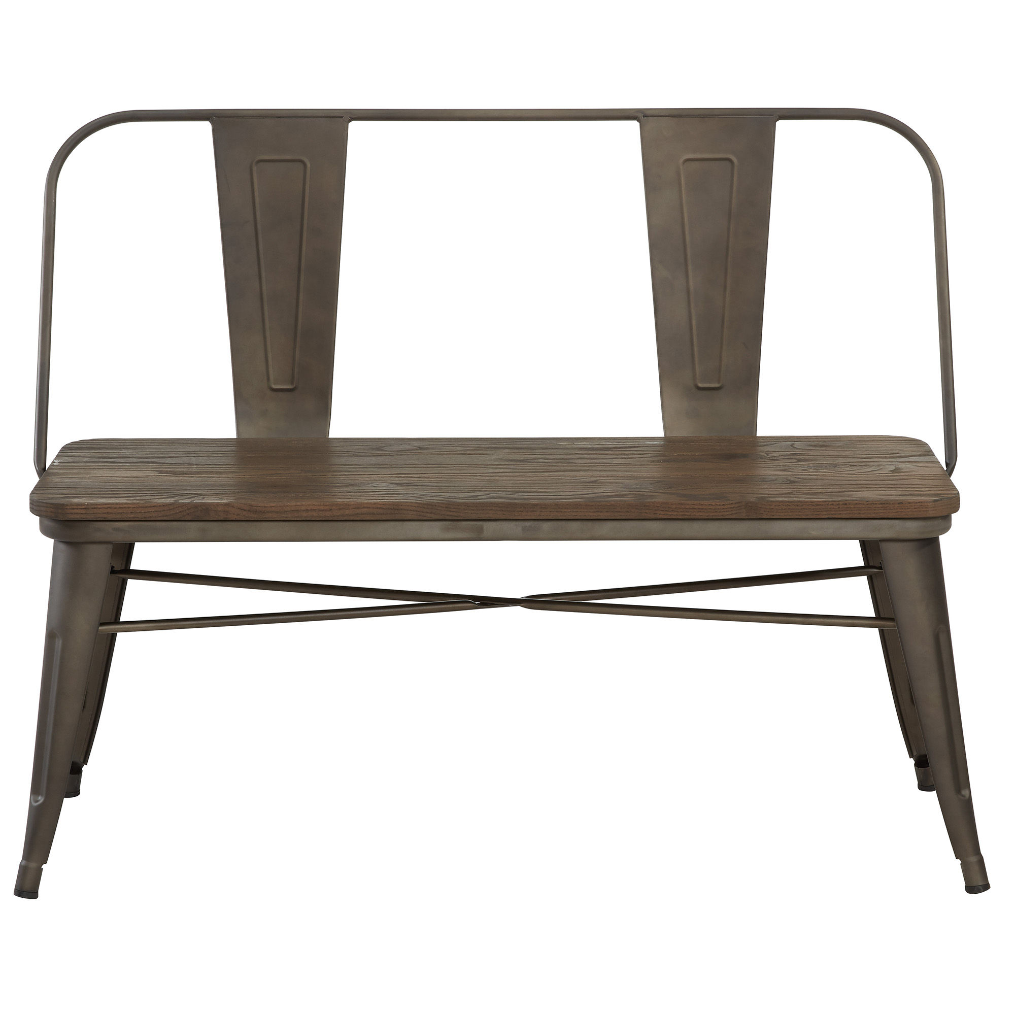 Rustic Industrial Metal & Solid Wood Bench with Back in Gunmetal