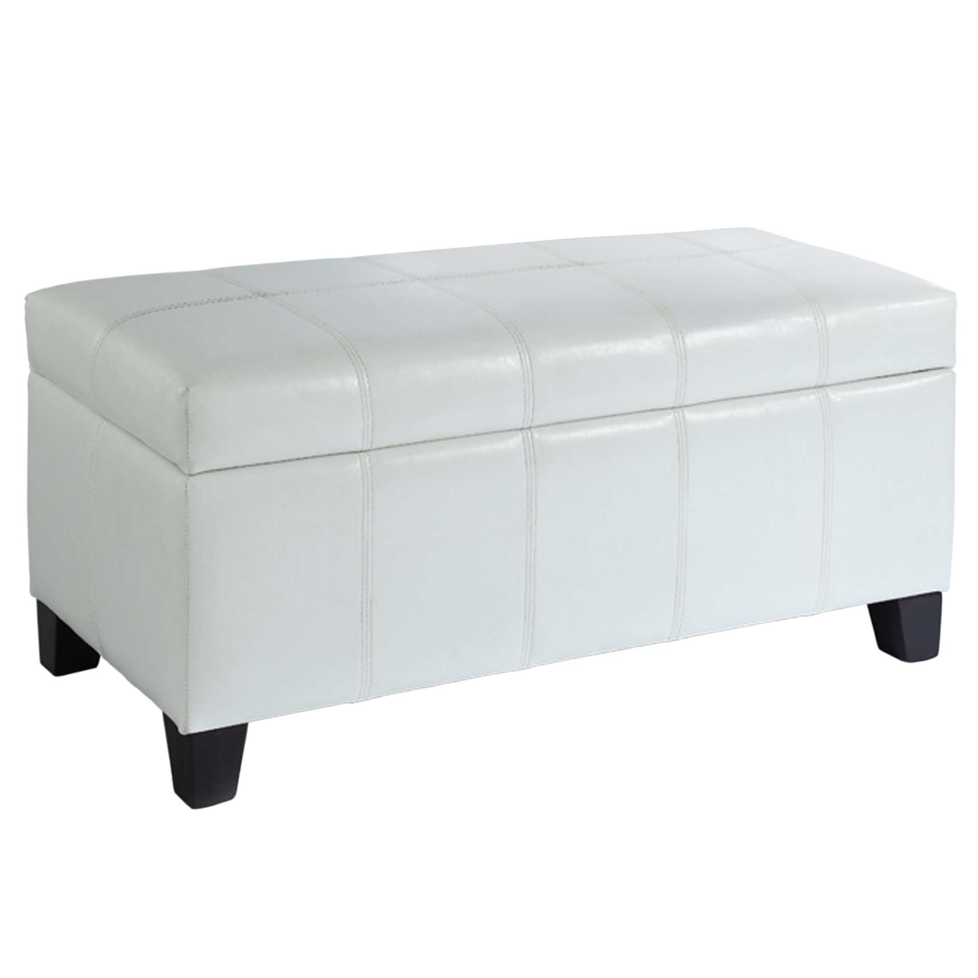 Modern Faux Leather Rectangular Storage Ottoman in White