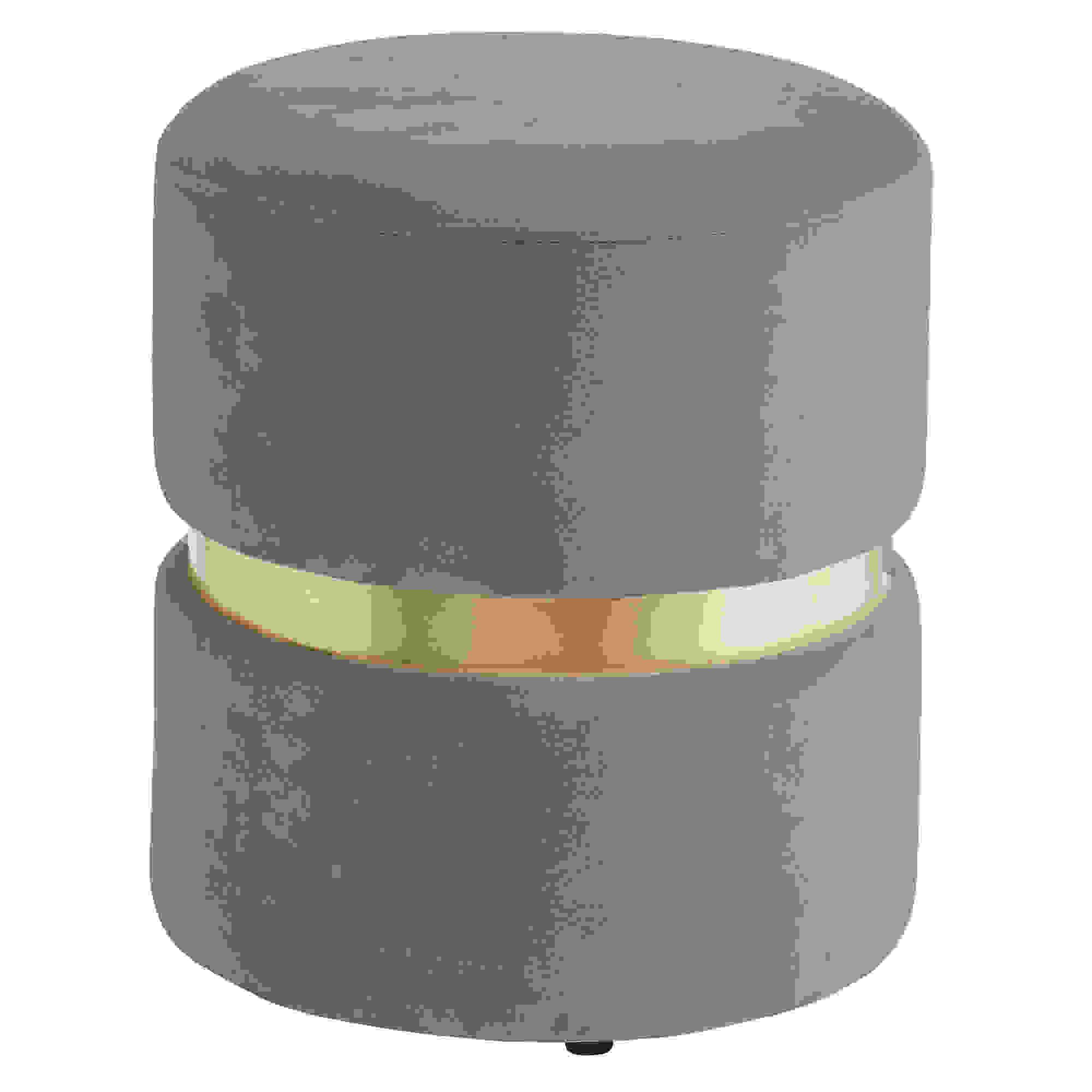 Contemporary Velvet & Metal Round Ottoman in Grey
