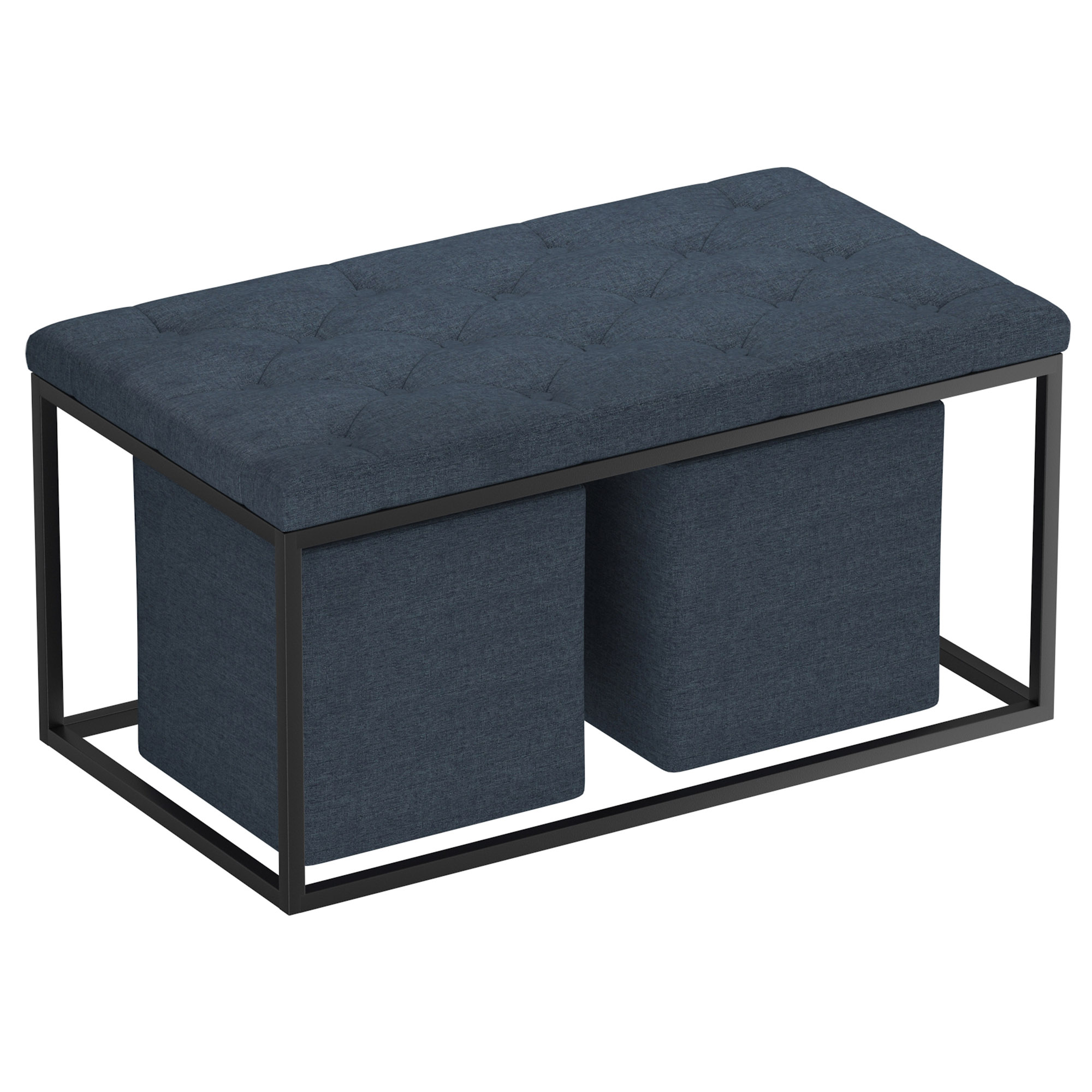 Modern Fabric & Metal 3pc Rectangular Cocktail Ottoman in Grey-Blue