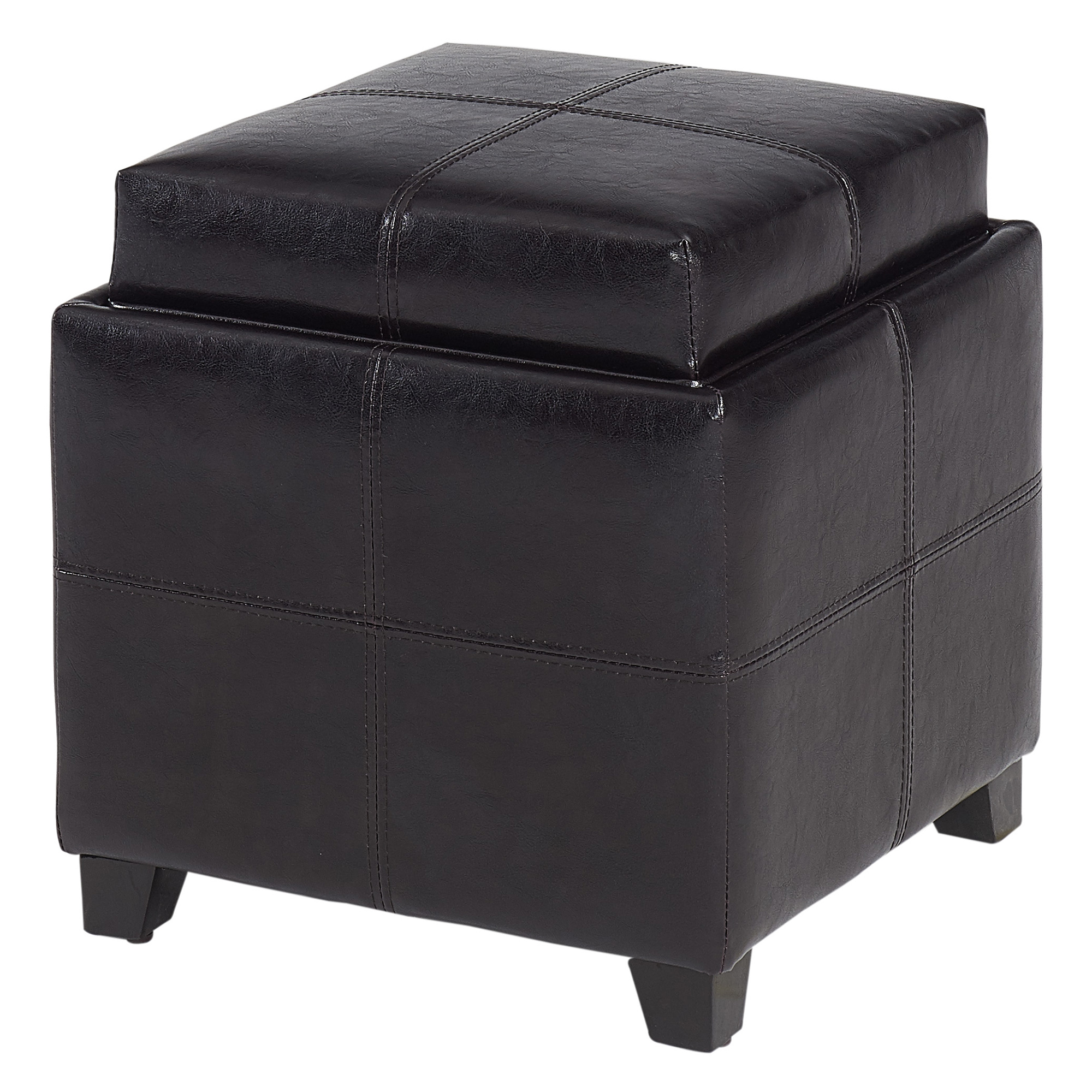 Modern Faux Leather Square Storage Ottoman in Brown