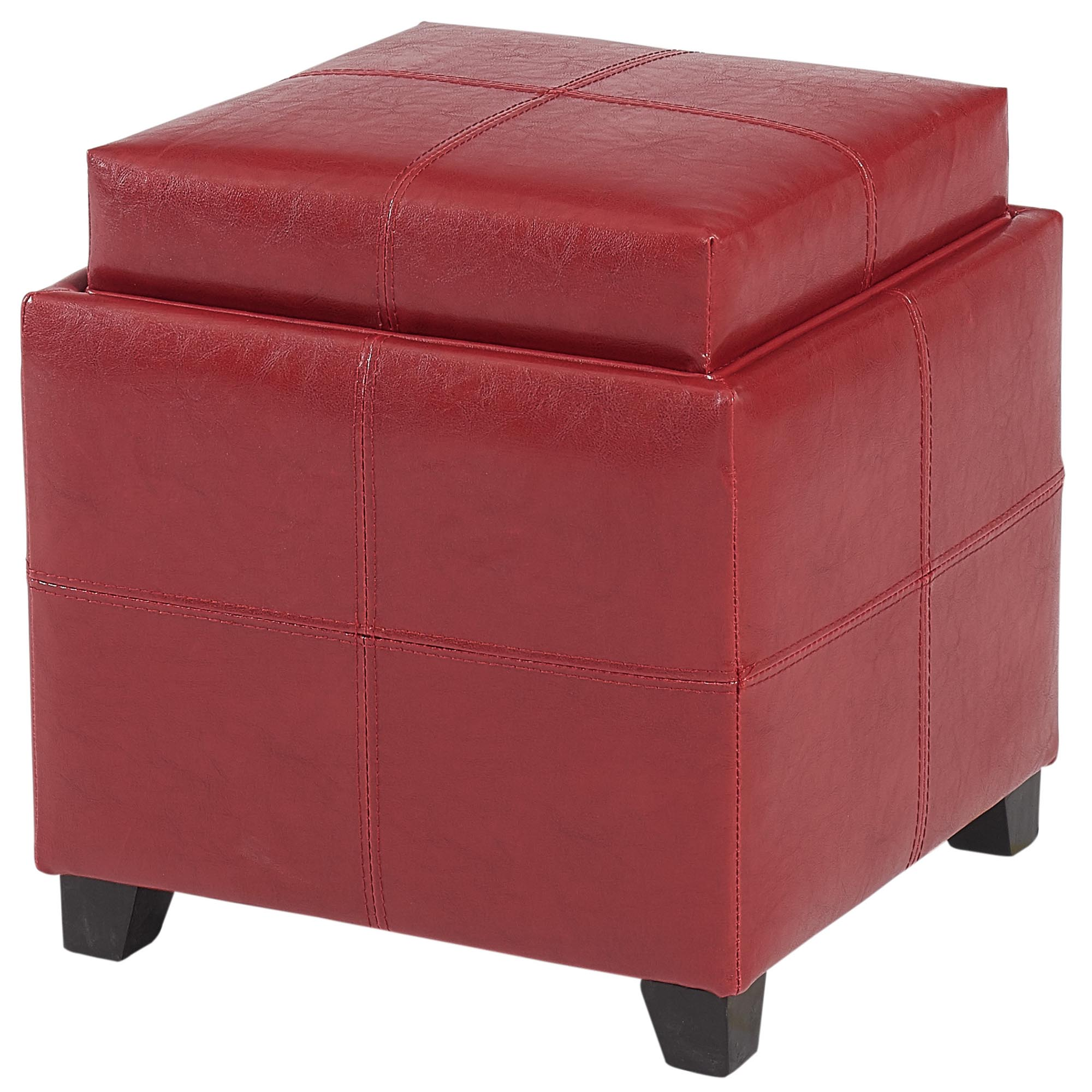 Modern Faux Leather Square Storage Ottoman in Red