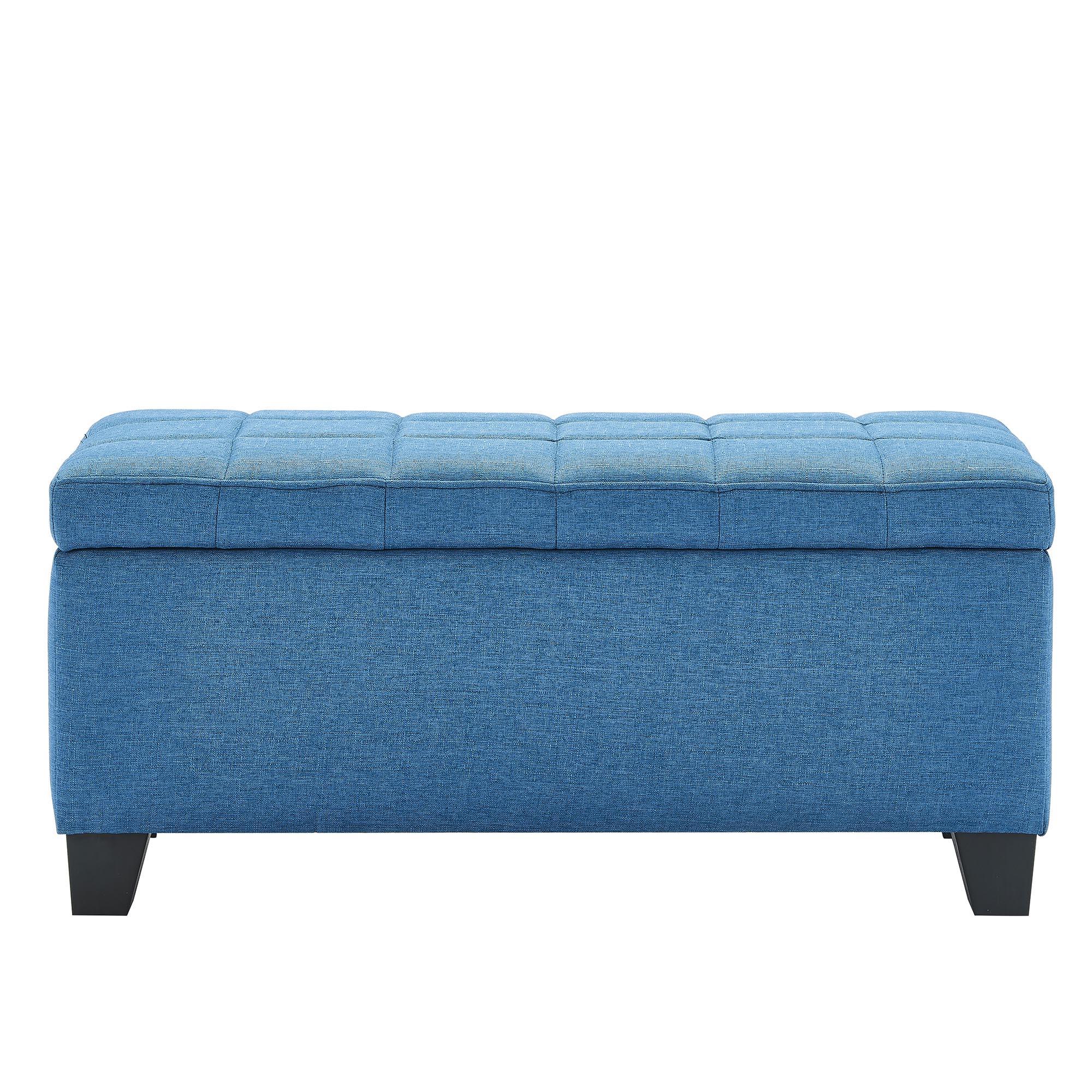 Modern Fabric Rectangular Storage Ottoman in Blue