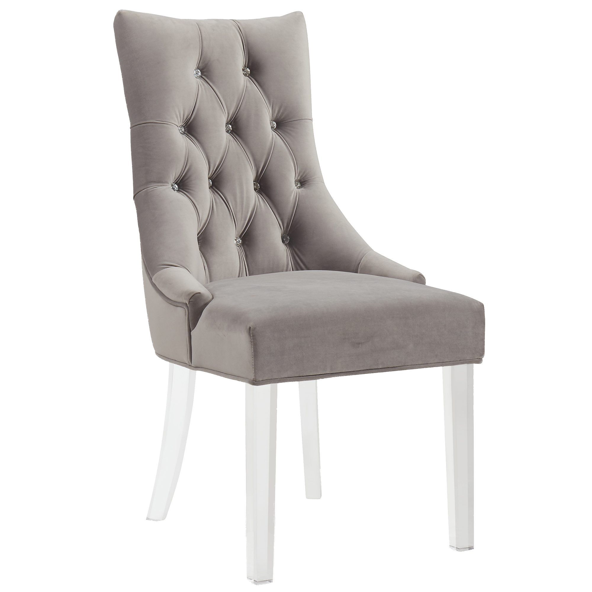 Contemporary Velvet & Acrylic Accent/Dining Chair in Grey