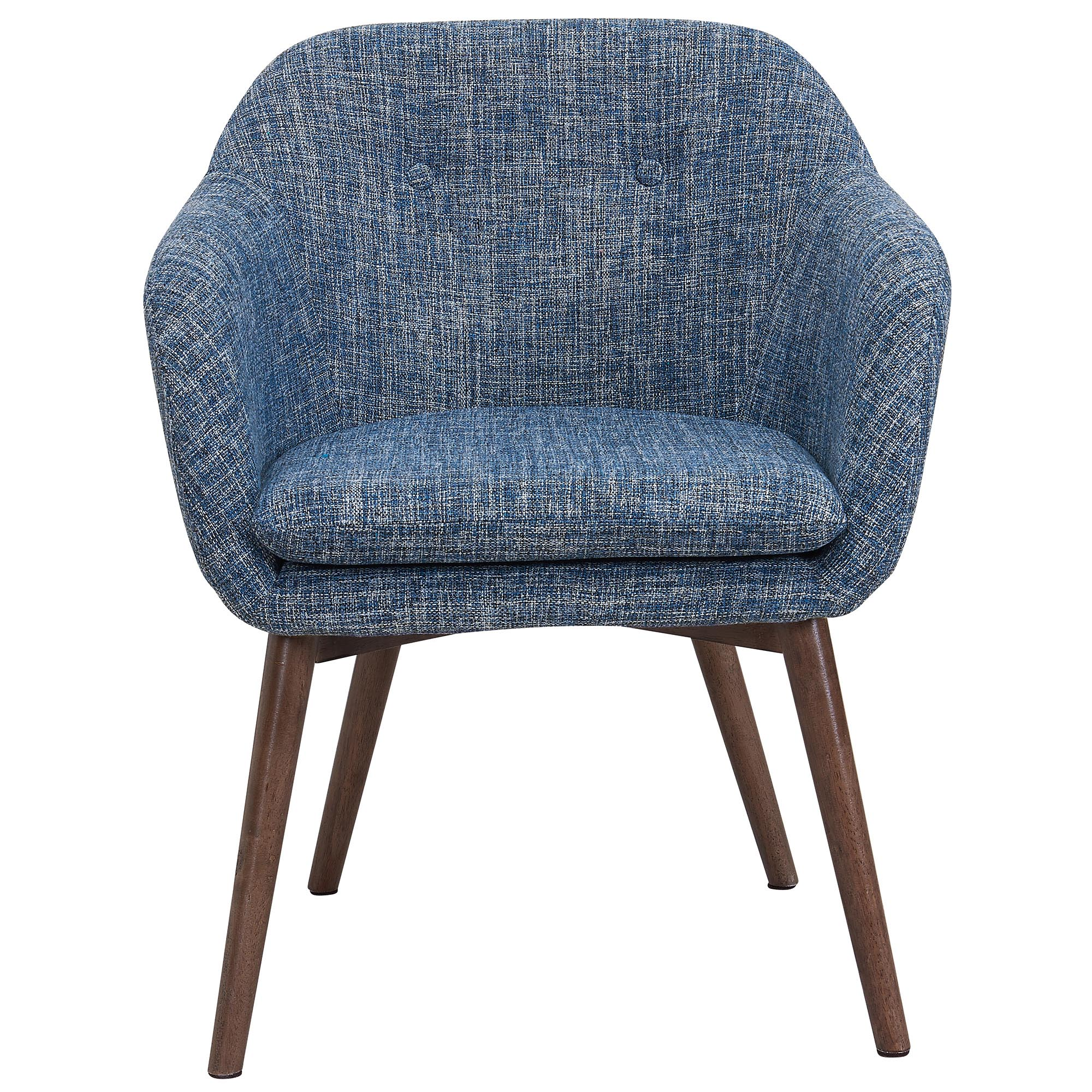 Mid-Century Fabric & Solid Wood Accent/Dining Chair in Blue Blend