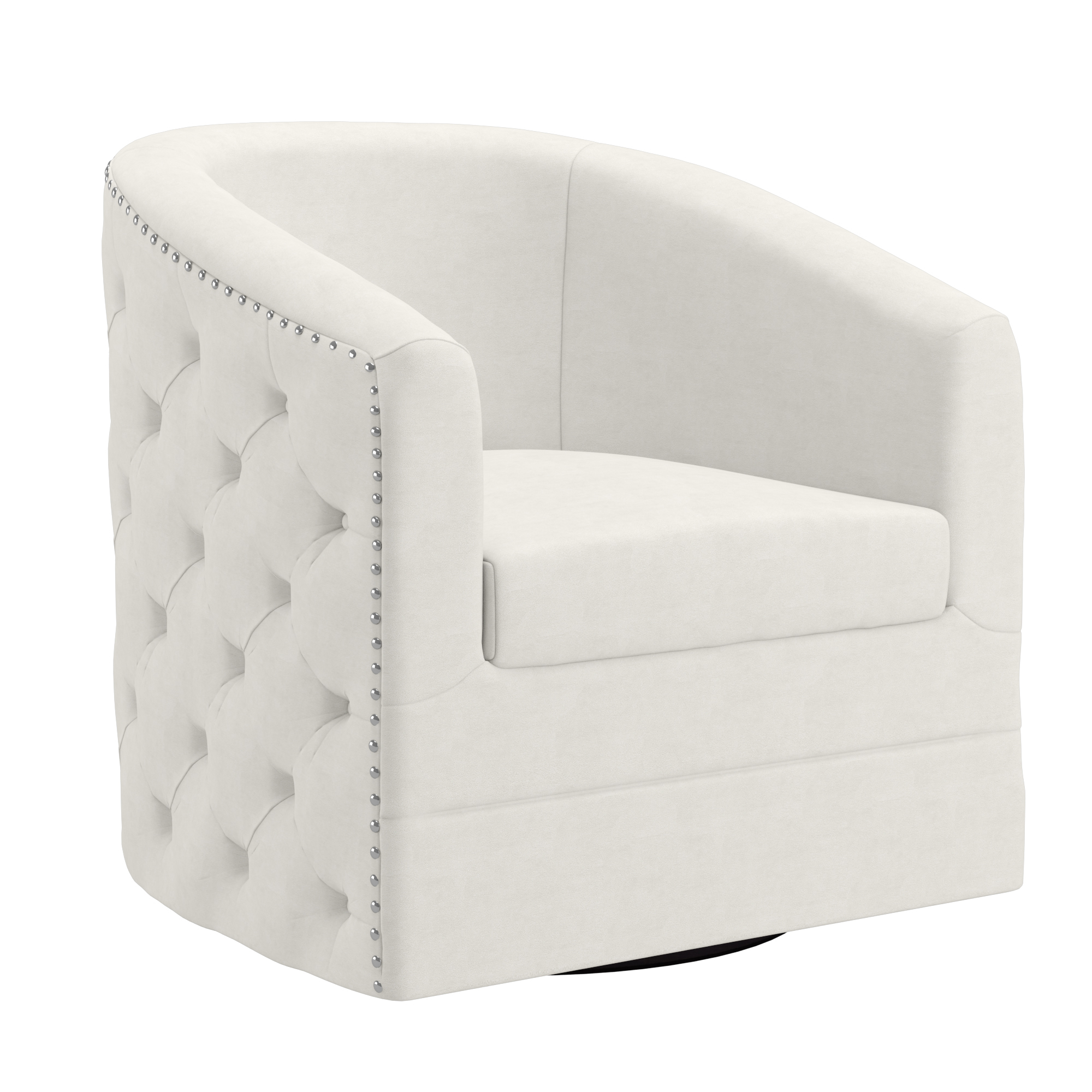 Contemporary Velvet Swivel Accent Chair in Ivory