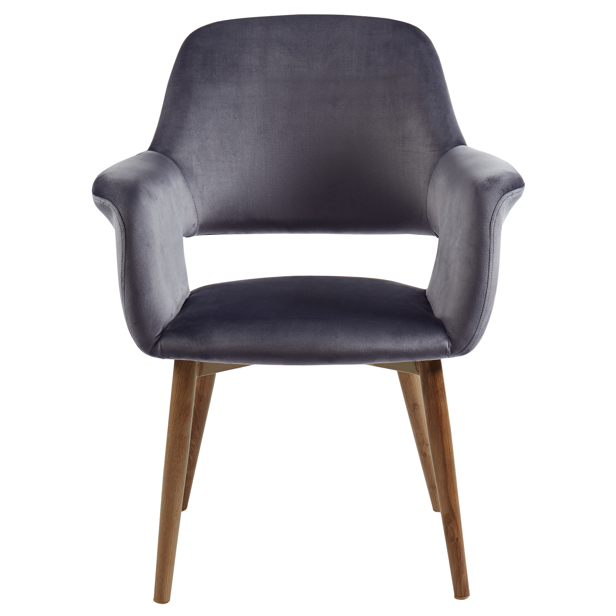Mid-Century Velvet & Metal Accent/Dining Chair in Grey