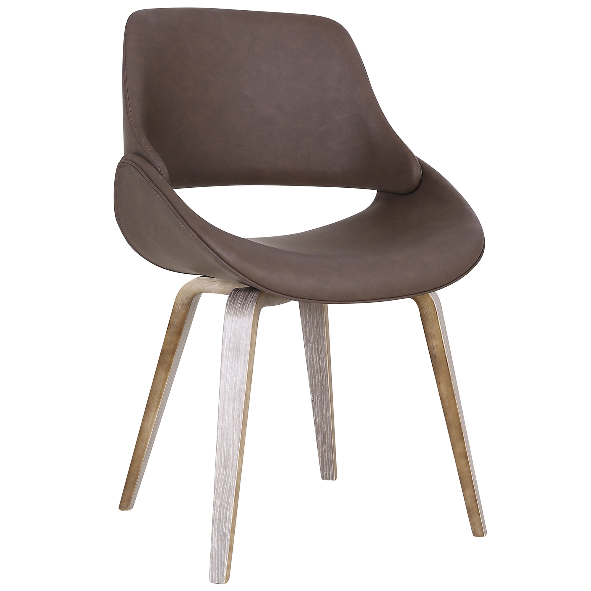Mid-Century Faux Leather & Bentwood Accent/Dining Chair in Brown