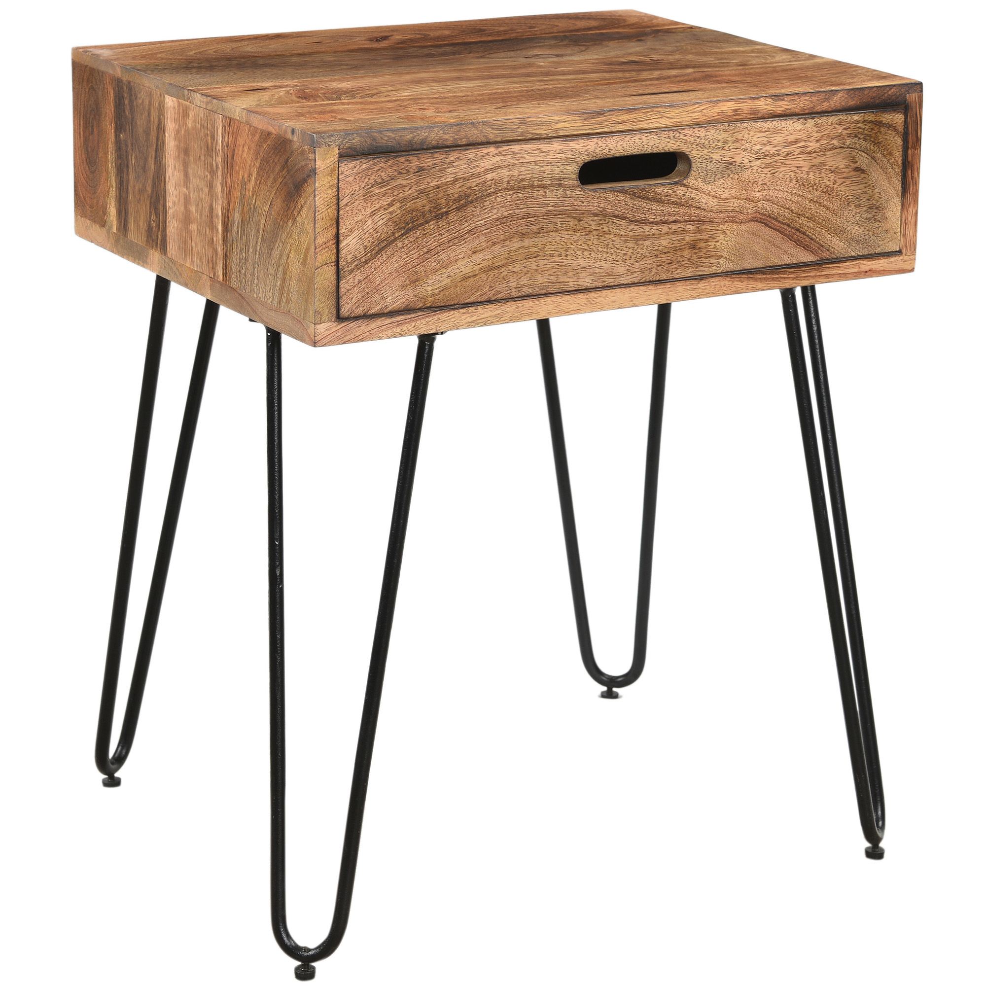 Rustic Industrial Solid Wood & Iron Accent Table in Natural Burnt