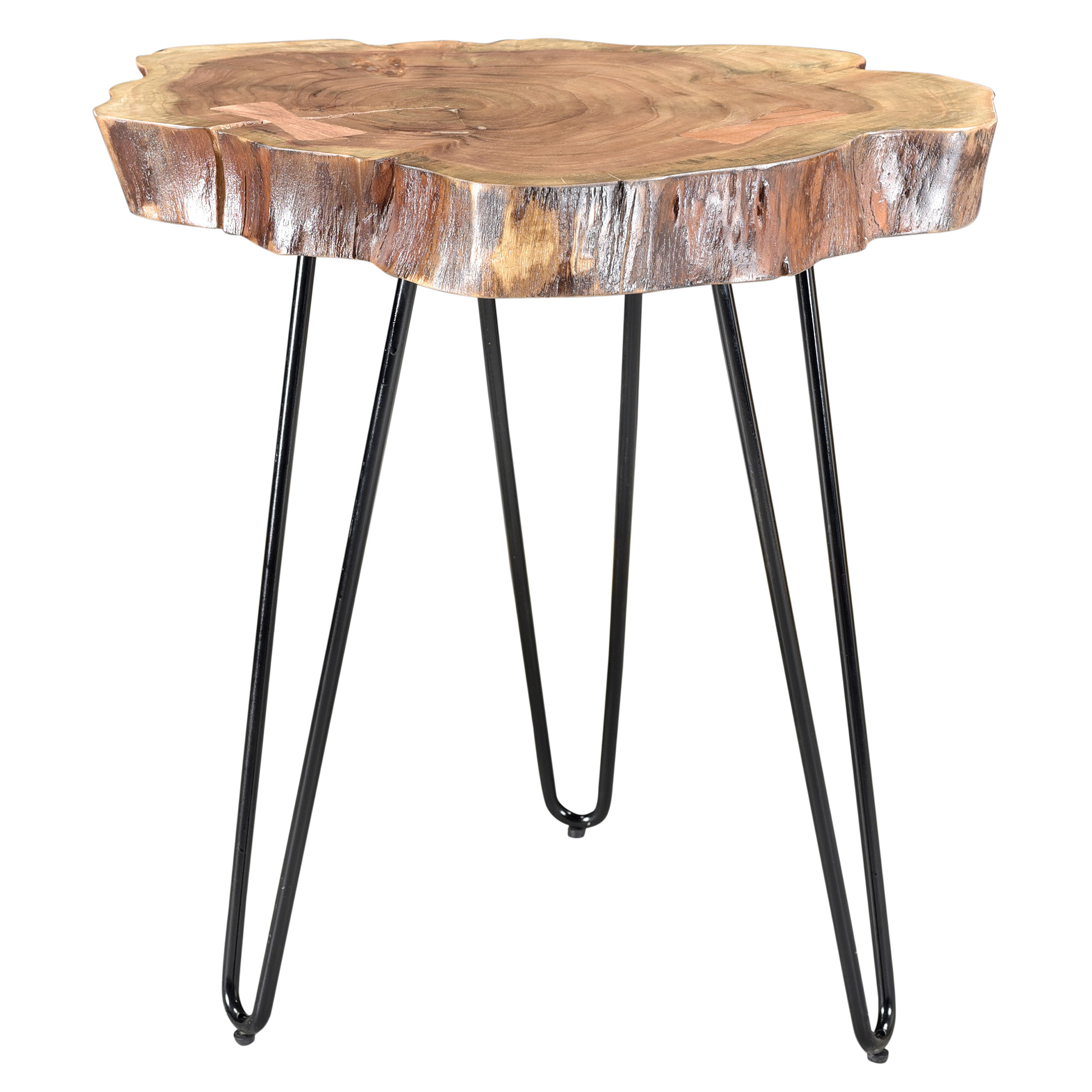 Rustic Modern Solid Wood & Iron Accent Table in Natural