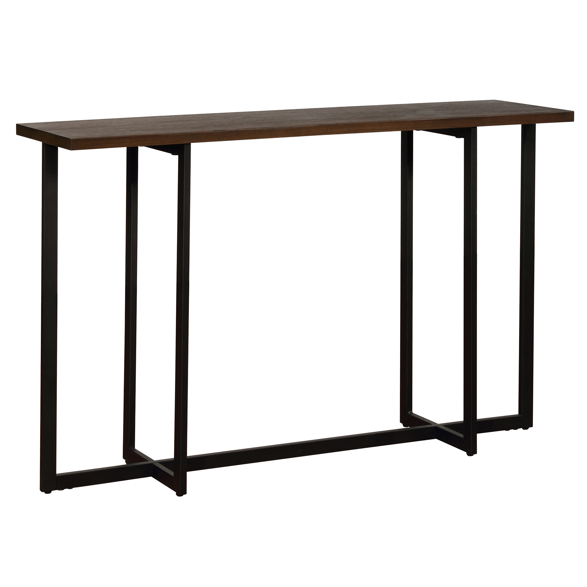 Modern MDF & Metal Console Table in Walnut