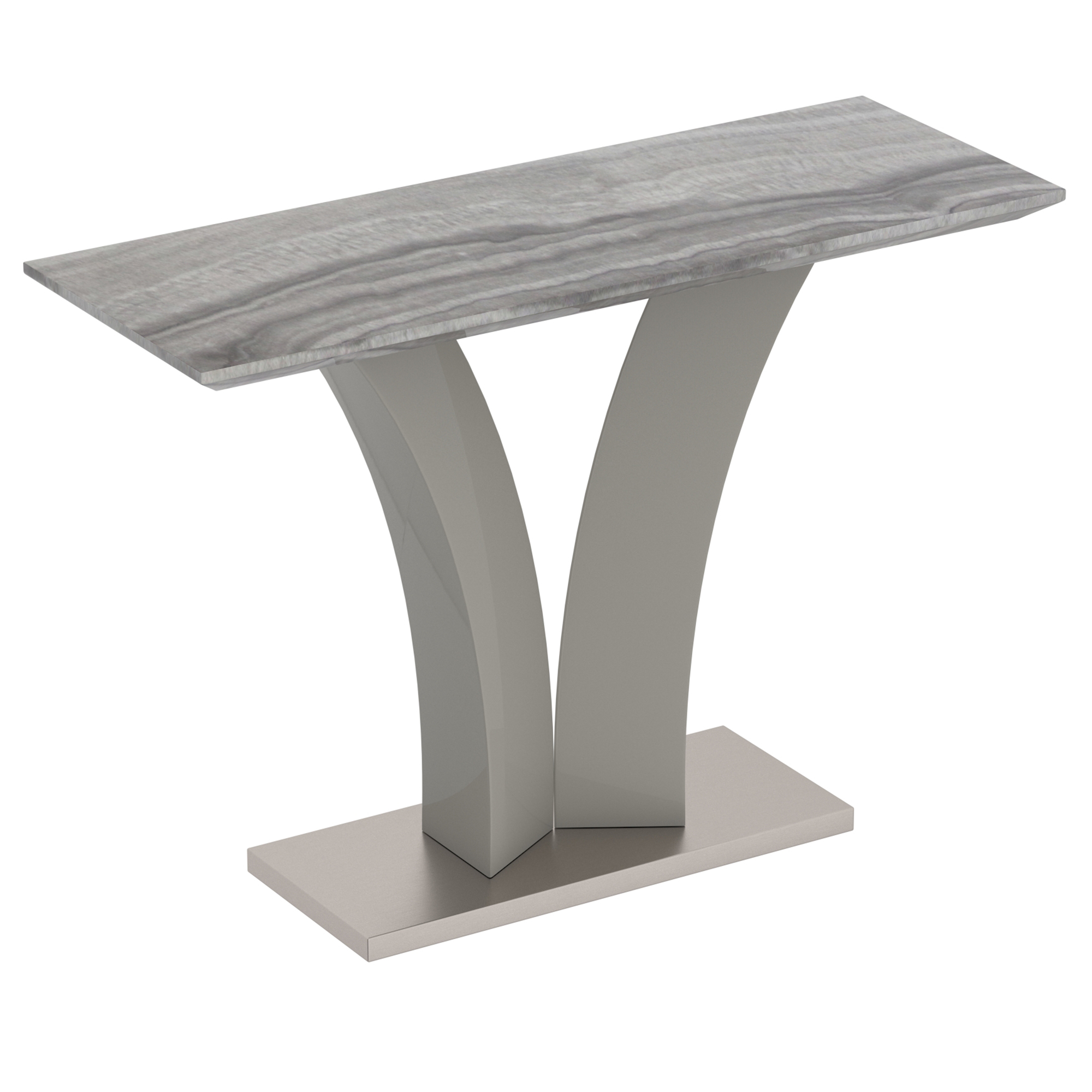 Contemporary Faux Marble & Stainless Steel Console Table in Grey