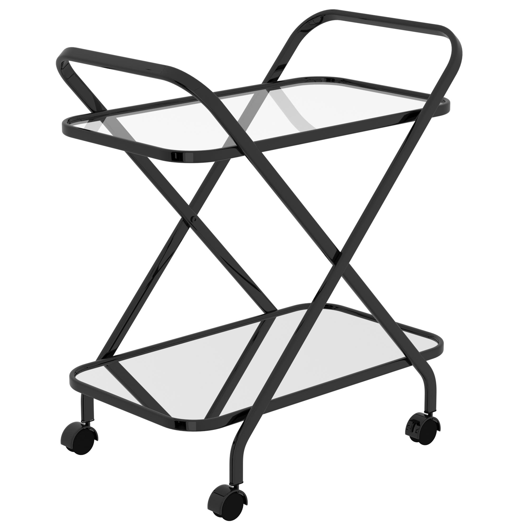Contemporary Metal 2-Tier Bar Cart in Black