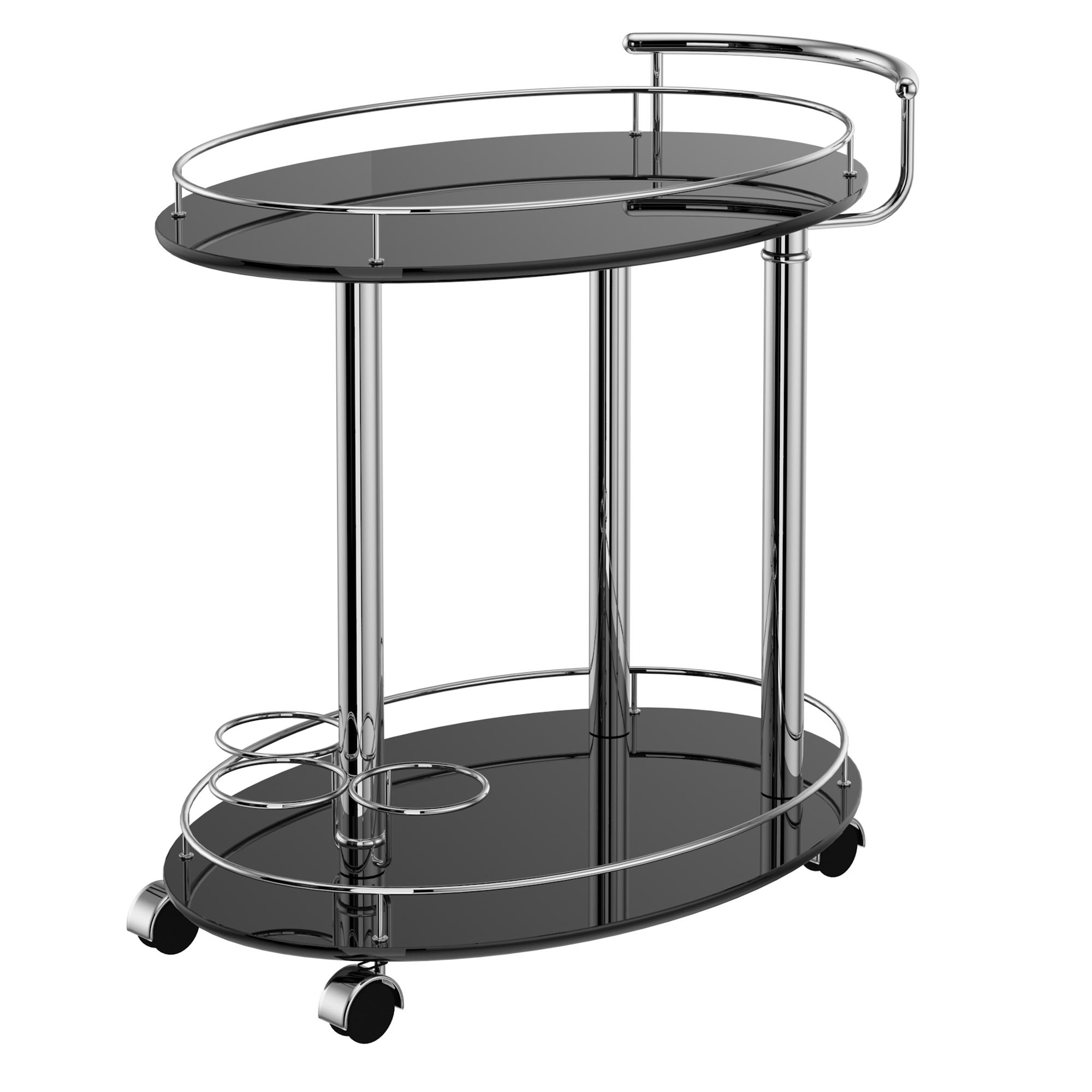 Contemporary Metal & MDF 2-Tier Bar Cart in Black