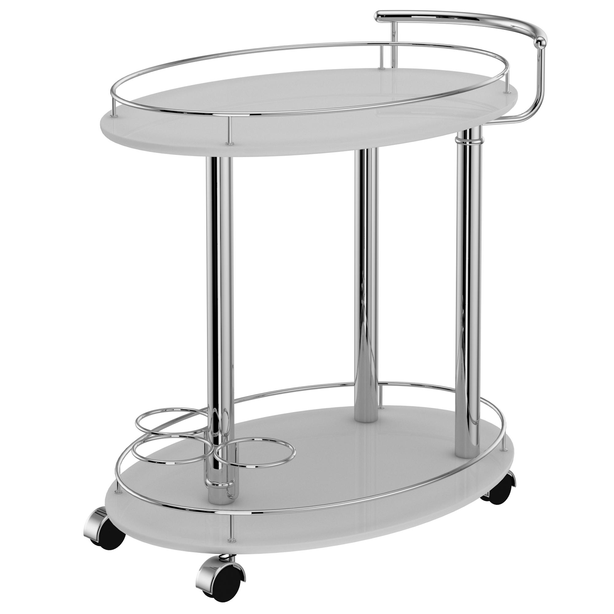 Contemporary Metal & MDF 2-Tier Bar Cart in Grey
