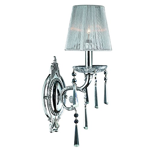 """Orleans Collection 1 Light Arm Chrome Finish and Clear Crystal Wall Sconce with White String Shade 6"""" W x 18"""" H Small"""