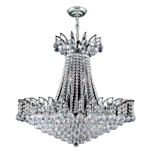 """Empire Collection 11 Light Chrome Finish Crystal Chandelier 24"""" D x 24"""" H Round Large"""