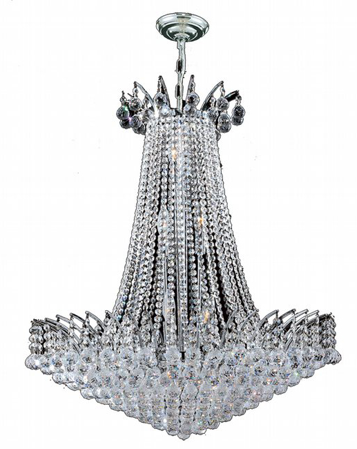 """Empire Collection 16 Light Chrome Finish Crystal Chandelier 29"""" D x 32"""" H Round Large"""