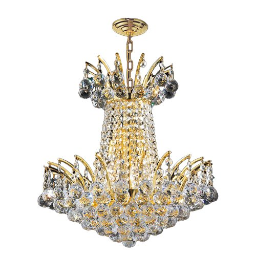 """Empire Collection 4 Light Gold Finish Crystal Chandelier 16"""" D x 16"""" H Mini"""