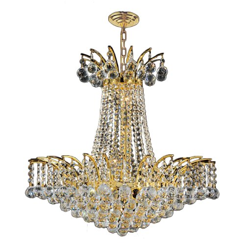 """Empire Collection 8 Light Gold Finish Crystal Chandelier 19"""" D x 19"""" H Medium"""
