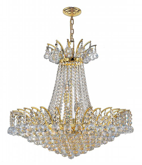 """Empire Collection 11 Light Gold Finish Crystal Chandelier 24"""" D x 24"""" H Round Large"""