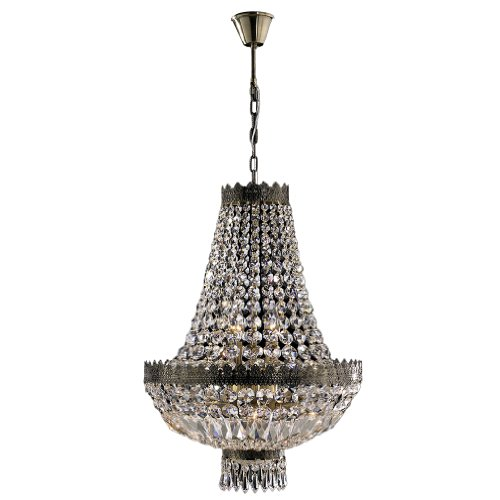 """Metropolitan Collection 6 Light Antique Bronze Finish and Clear Crystal Chandelier 16"""" D x 24"""" H Mini"""