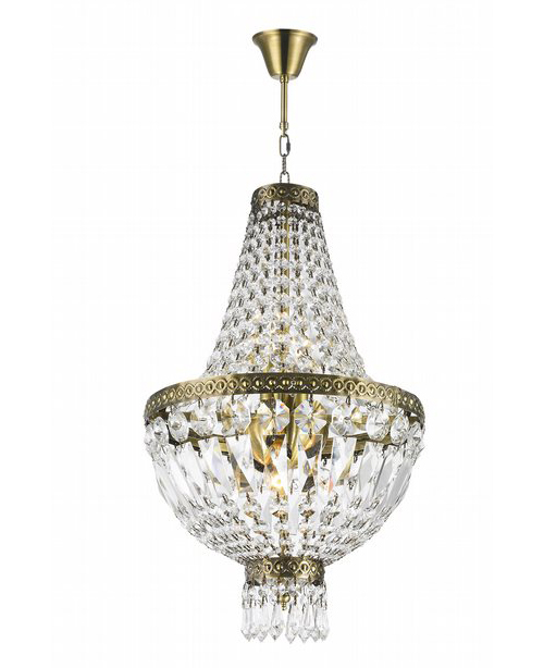 """Metropolitan Collection 5 Light Antique Bronze Finish and Clear Crystal Chandelier 12"""" D x 20"""" H Mini"""
