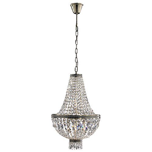"""Metropolitan Collection 6 Light Antique Bronze Finish and Clear Crystal Chandelier 16"""" D x 26"""" H Mini"""