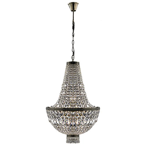 """Metropolitan Collection 8 Light Antique Bronze Finish and Clear Crystal Chandelier 20"""" D x 32"""" H Medium"""