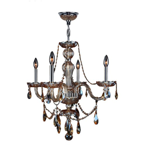 """Provence Collection 4 Light Chrome Finish and Amber Crystal Chandelier 23"""" D x 25"""" H Medium"""