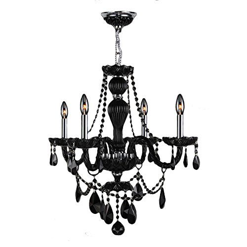 """Provence Collection 4 Light Chrome Finish and Black Crystal Chandelier 23"""" D x 25"""" H Medium"""