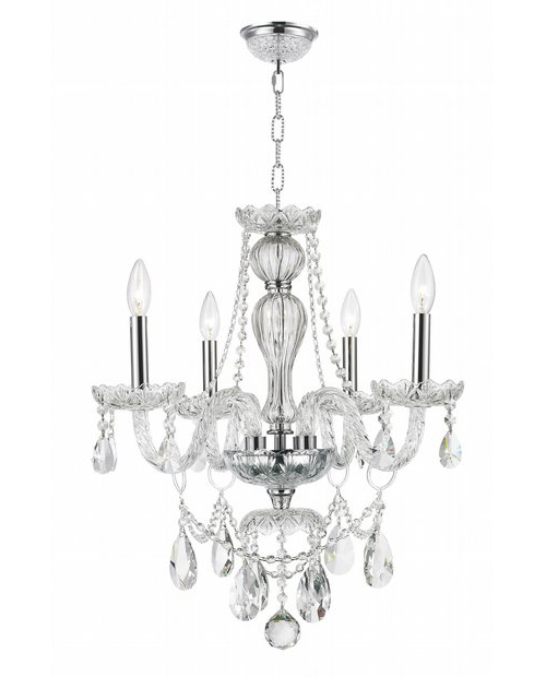 """Provence Collection 4 Light Chrome Finish and Clear Crystal Chandelier 23"""" D x 25"""" H Medium"""